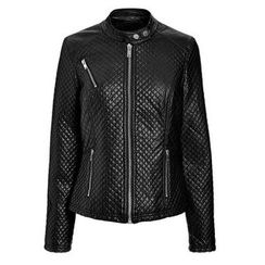 Richcoco - Faux Leather Zip Jacket
