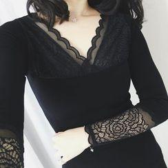 RUI - Lace Trim Long-Sleeve T-Shirt