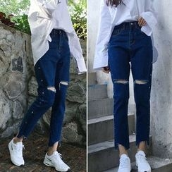 Glen Glam - Cropped Cut Out Jeans