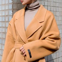chuu - Wool Blend Long Wrap Coat with Sash