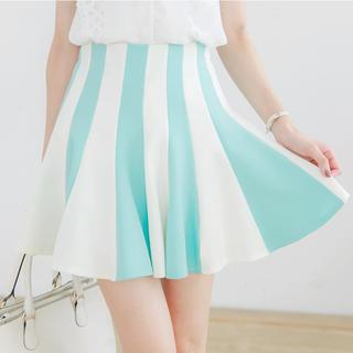 Tokyo Fashion - High-Waist Striped Skater Skirt