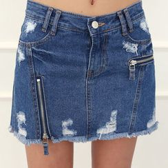 DANI LOVE - Inset Under-Shorts Denim Mini Skirt