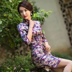 Miss Four Qipao - 3/4-Sleeve Check Cheongsam