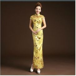 Posh Bride - Cap-Sleeve Sequined Cheongsam