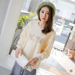 OrangeBear - Fleece Lined Pearl Decor Sweatshirt