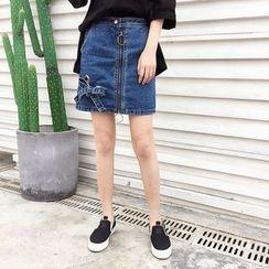 Mayflower - Bow Detail Zip Front Denim Skirt