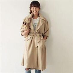ANNINA - Double-Button Long Trench Coat