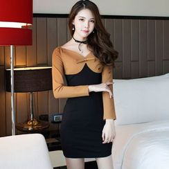 Clospace - Long-Sleeve Color Block V-Neck Sheath Dress