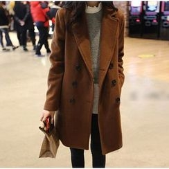 Alisha - Notch Lapel Double-Breasted Coat