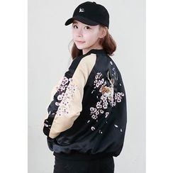 Dalkong - Color-Block Embroidered Baseball Jacket