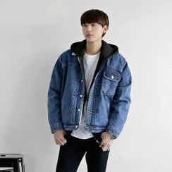 Seoul Homme - Brushed-Fleece Lined Washed Denim Jacket