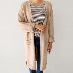 Seoul Fashion - Dual-Pocket Slit-Side Long Cardigan