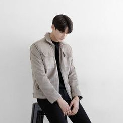 Seoul Homme - Faux-Suede Zip-Up Jacket