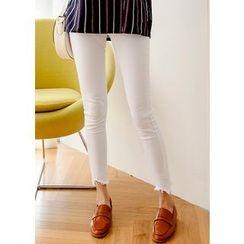 J-ANN - Cutout Fray-Hem Skinny Pants