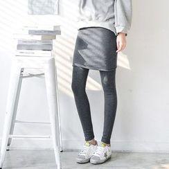 JUSTONE - Inset Skirt Brushed-Fleece Lined Leggings