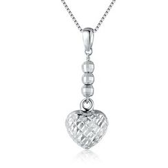 MaBelle - 14K/585 White Gold Ball and Heart Diamond Cut Necklace