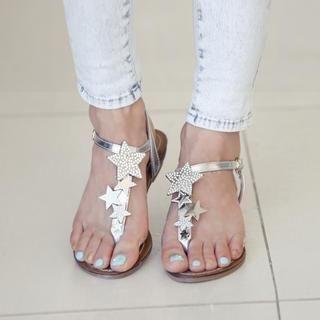 REDOPIN - Rhinestone Thong Sandals