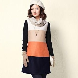 Moonbasa - Wool-Blend Sleeveless Color-Block Shift Dress