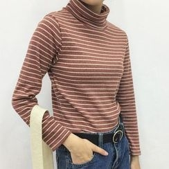 OCTALE - Striped Turtleneck Long-Sleeve T-Shirt