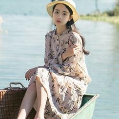 Sens Collection - Frill Trim Floral Print Long Sleeve Dress