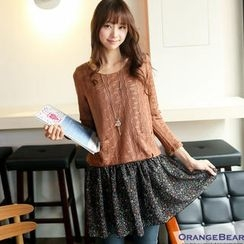 OrangeBear - Inset Knit Top Floral Dress