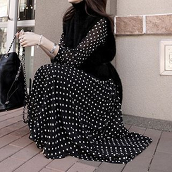 Cerise - Dotted Long Sleeve Maxi Dress