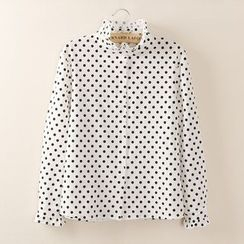 Tangi - Frill Collar Dotted Chiffon Top