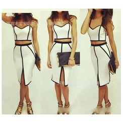 Forest Of Darama - Set: Contrast Trim Bustier Top + Contrast Trim Pencil Skirt