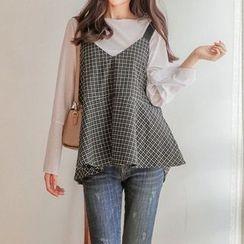 Seoul Fashion - Sleeveless Check Top
