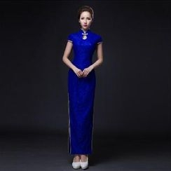 Posh Bride - Short-Sleeve Lace Long Cheongsam