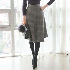 ode' - Plaid A-Line Midi Skirt