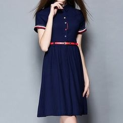 Merald - Short-Sleeve Pleated Dress
