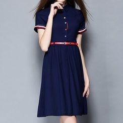 妮佳 - 短袖打褶襉連衣裙