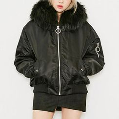 chuu - Hooded Faux-Fur Lined Flight Jacket