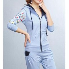 Sienne - Sports Set : Printed Hooded Jacket + Sweatpants