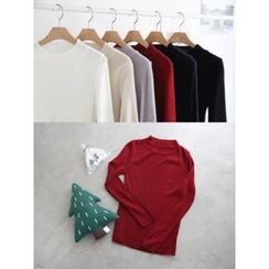 hellopeco - Mock-Neck Rib-Knit Top