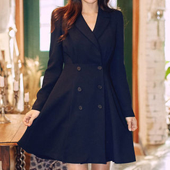 chuu - Peaked-Lapel Double-Breasted A-Line Coatdress
