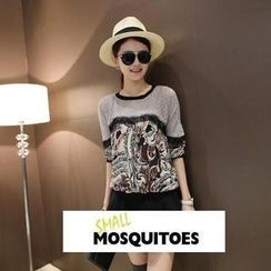 Small Mosquitoes - Patterned Lace-Trim Long-Sleeve Top