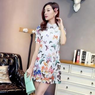 Aierys - Short-Sleeve Butterfly-Print Lace Dress