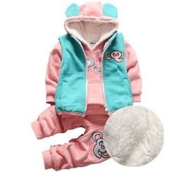 POMME - Kids Set: Elephant Applique Vest + Hoodie + Sweatpants