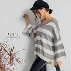 PUFII - Striped V-Neck Kniot Top