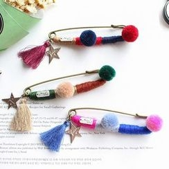 Hush Hush - Pom Pom Tassel Safety Pin Brooch