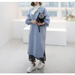Miamasvin - Brushed-Fleece Lined Long Pullover Dress