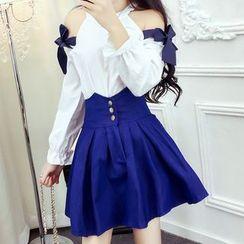 ZAPPA - 套装: 饰蝴蝶结露肩长袖上衣 + 高腰A字裙