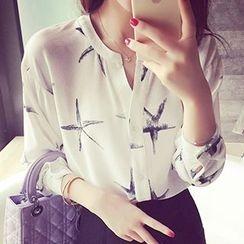 Fashion Street - Starfish Print Chiffon Shirt