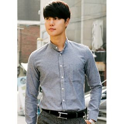 JOGUNSHOP - Mandarin-Collar Long-Sleeve Shirt