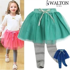 WALTON kids - Kids Inset Laced Skirt Leggings