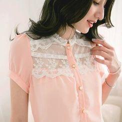 Tokyo Fashion - Lace Panel Cap-sleeve Chiffon Blouse
