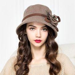 BADA - 网纱花朵羊毛呢礼帽