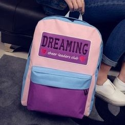 Youme - Letter Embroidered Color Panel Backpack